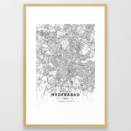 Hyderabad, India - Light Map Framed Art Print