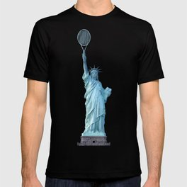 Statue of Liberty with Tennis Racquet T-shirt