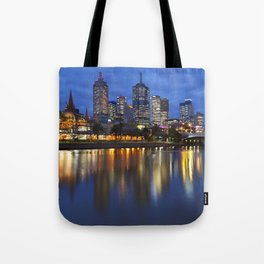 I - Skyline of Melbourne, Australia across the Yarra River at night Tote Bag