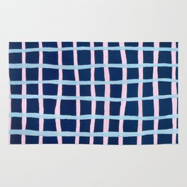 Pink and Blue Grid Rug