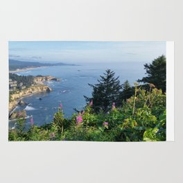 Otter Rock, Oregon from Cape Foulweather Vantage Point Rug