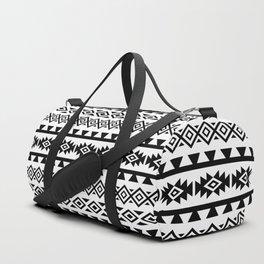 Aztec Stylized Lg Pattern II BW Duffle Bag