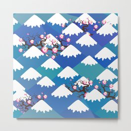 Spring Nature background with Japanese cherry blossoms, sakura pink flowers landscape. blue mountain Metal Print
