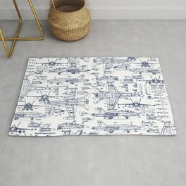 F-18 Blueprints // Blue Ink Rug