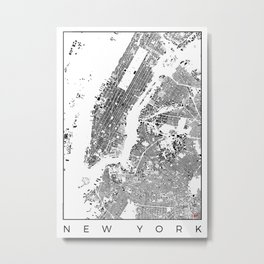 New York Map Schwarzplan Only Buildings Metal Print