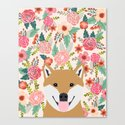 Shiba Inu florals spring summer bright girly hipster dog meme shiba ink puppy pet portraits by petfriendly