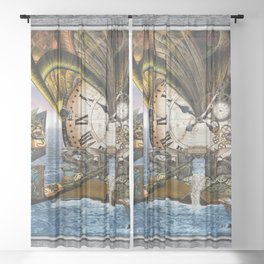 Steampunk Ocean Dragon Library Sheer Curtain