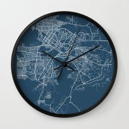Kabul Blueprint Street Map, Kabul Colour Map Prints Wall Clock