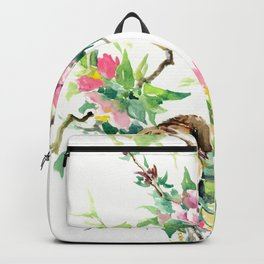 Sparrows and Apple Blossom, spring floral bird art Backpack