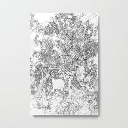 Kuala Lumpur White Map Metal Print