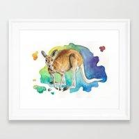 kangaroo Framed Art Prints featuring Kangaroo by Kyra Kalageorgi