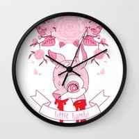 kendrawcandraw Wall Clocks featuring Little Bambi by kendrawcandraw