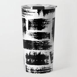 Black brush stripes plaid Travel Mug