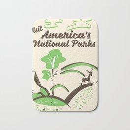 Visit America's National Parks vintage poster Bath Mat