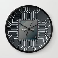 computer Wall Clocks featuring Computer Chip by Robin Curtiss