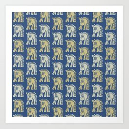 Mid Century Horse Pattern Blue Gold and Oyster Art Print