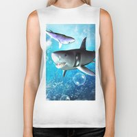 shark Biker Tanks featuring Shark by nicky2342