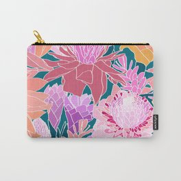 Ginger Flowers in Coral + Dark Teal Green Carry-All Pouch