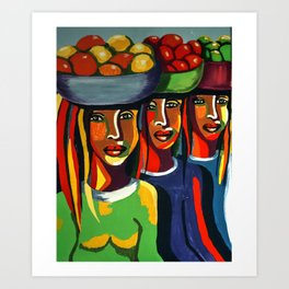 African Traditional Tribal Women Abstract Art Canvas Painting Series - 7 Art Print