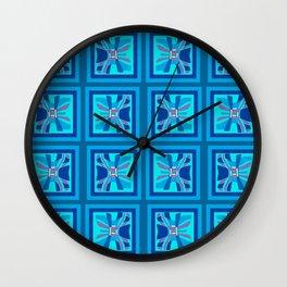 Wavy Geometric Blues Wall Clock