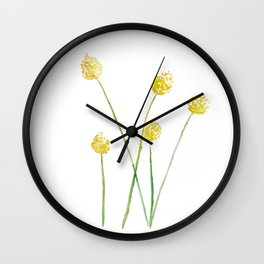 Yellow Billy Button Flowers Wall Clock