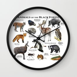 Animals of the Black Forest Wall Clock