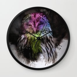 Abstract colorful owl Wall Clock