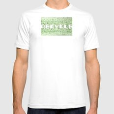 Recycle watercolor mosaic White MEDIUM Mens Fitted Tee