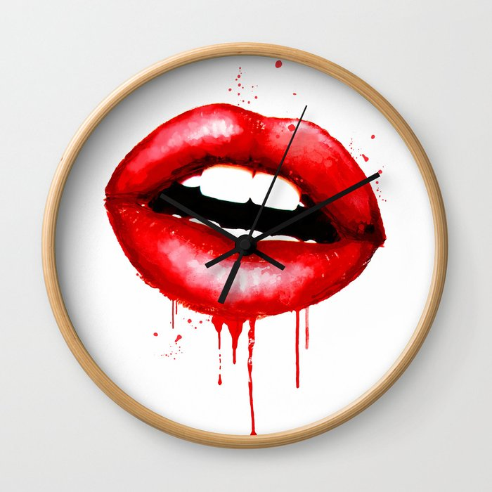 Red Lips Watercolor Print Fashion Poster Art Lipstick Chic Make Up Wall Clock