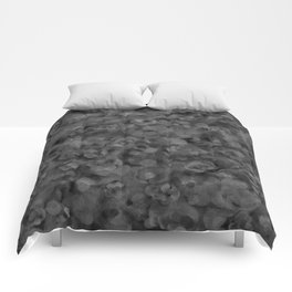 Dark Charcoal Gray and Light Grey Abstract Comforters