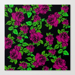 ROSES ROSES PINK AND GREEN Canvas Print