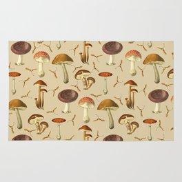 Wild Forest Mushroom Pattern Rug