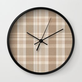 Plaid Prints, Brown and Beige Wall Clock