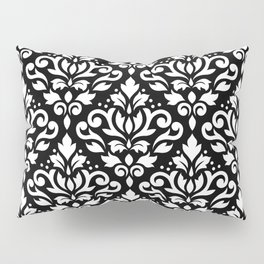 Scroll Damask Big Pattern White on Black Pillow Sham
