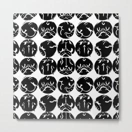 Black French Bulldog Dot Metal Print