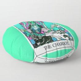 7. The Chariot- Neon Dreams Tarot Floor Pillow
