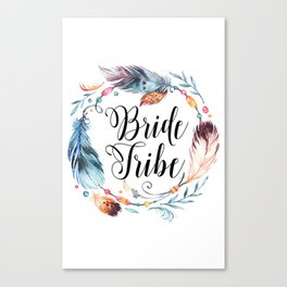 Bride Tribe Boho Feathers Canvas Print