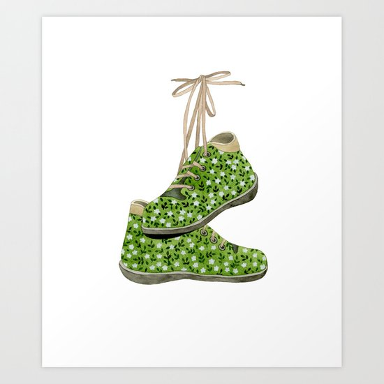 Floral Shoes Art Print