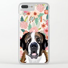 Saint Bernard floral pet portrait dog breed gifts for pure breed dog lovers Clear iPhone Case
