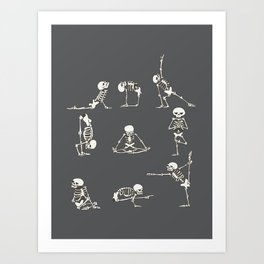 Skeleton Yoga_Gray Art Print