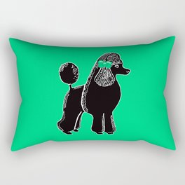 Black Standard Poodle with a Green Bow Rectangular Pillow