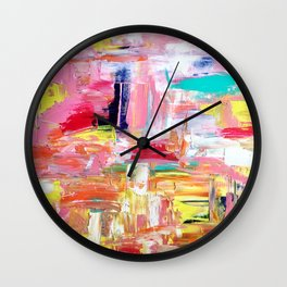 Contemporary Palette Knife Abstract Plaid 4 Wall Clock