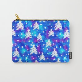 Watercolor Seamless pattern with hand drawn snowflakes and christmas tree . Carry-All Pouch
