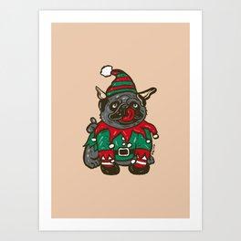 Elf puppy pug Art Print