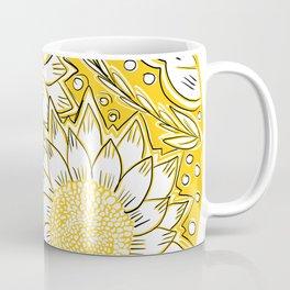 Sketched Sunset Sunflowers Coffee Mug