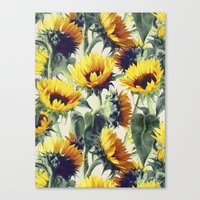 sunflowers Canvas Prints featuring Sunflowers Forever by micklyn