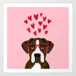 Boxer heart glasses hearts valentines day cute dog gifts rescue dog pure breed boxers Art Print