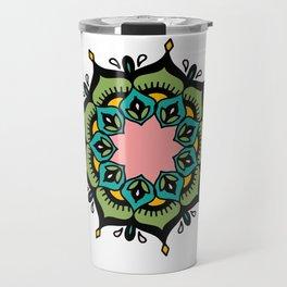 Mandala: Green and pink Travel Mug