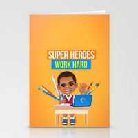 super heroes Stationery Cards featuring Super Heroes Work Hard by youngmindz