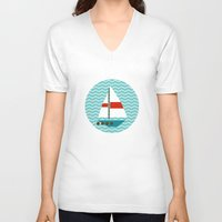 boat V-neck T-shirts featuring Boat by Valendji
